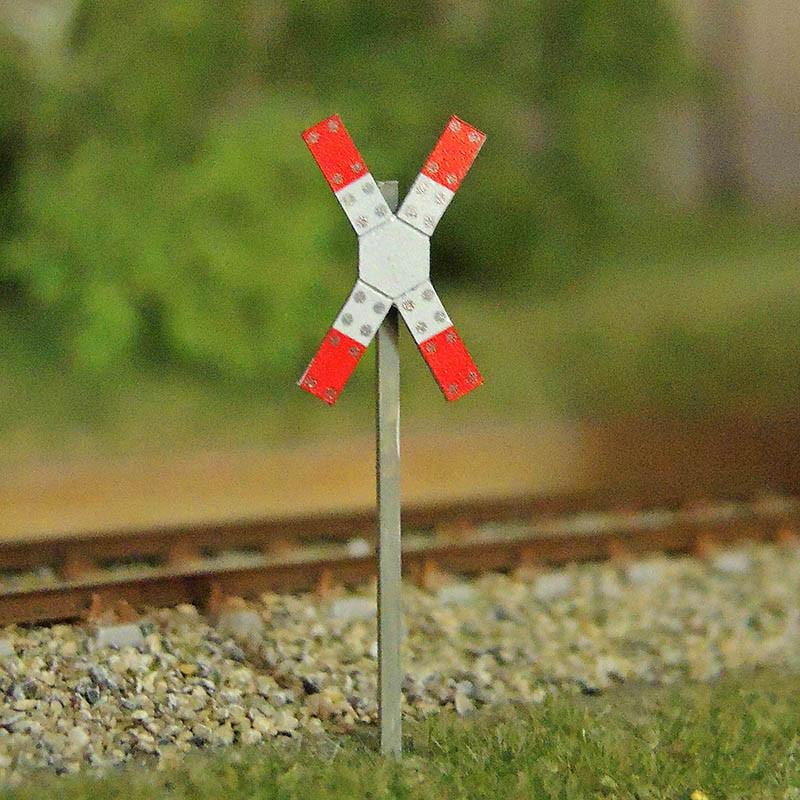 Warnkreuz für beschrankte u. unbeschrankte Bahnübergänge - Spur N (VE 2 Stück)