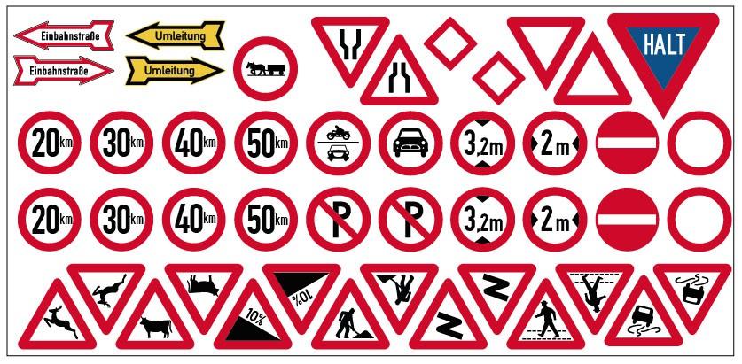 Sortiment aus 19 Verkehrsschildern (Spur H0)
