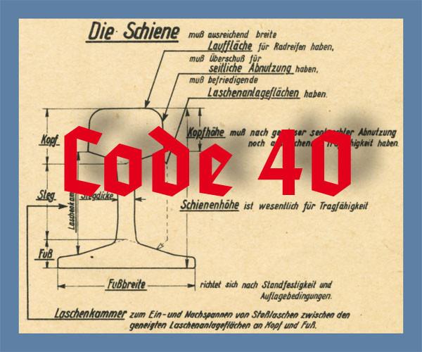 Code 40 Schienenprofil, brüniert