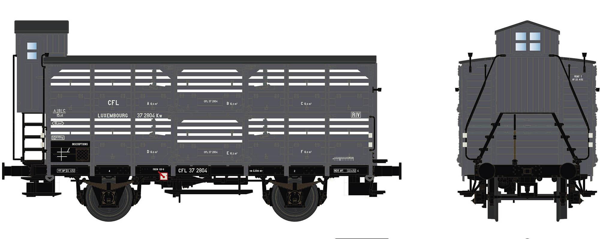 Wagenbausatz Verschlagwagen Vh14, CFL, Epoche III