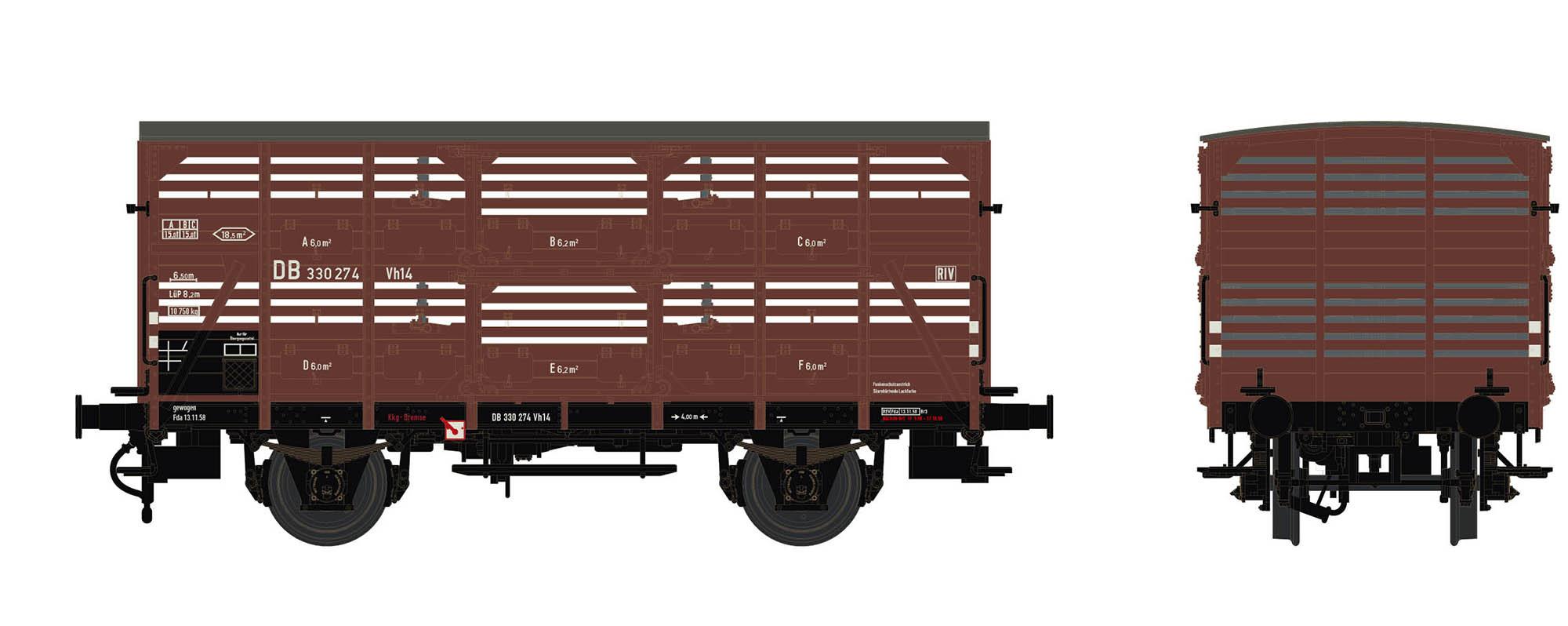 Wagenbausatz Verschlagwagen Vh14, DB, Epoche IIIb