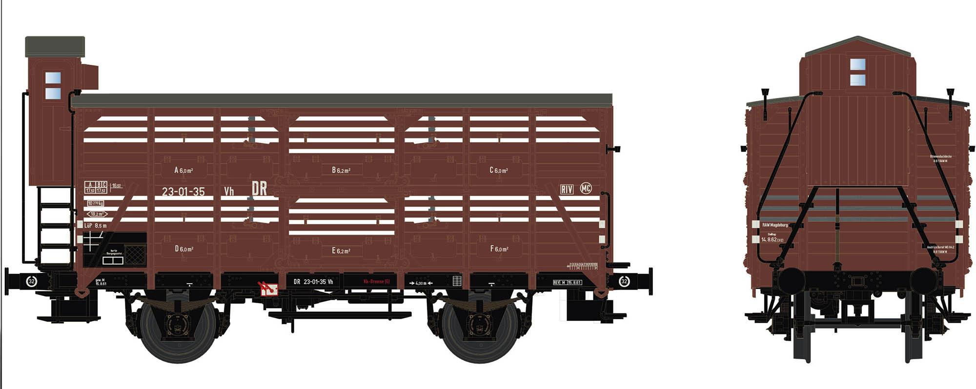 Wagenbausatz Verschlagwagen Vh14, DR, Epoche IIIb