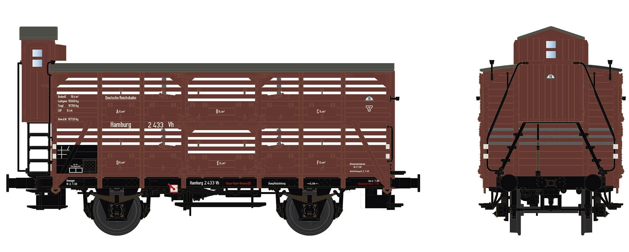 Wagenbausatz Verschlagwagen Vh14, DRB, Epoche IIc