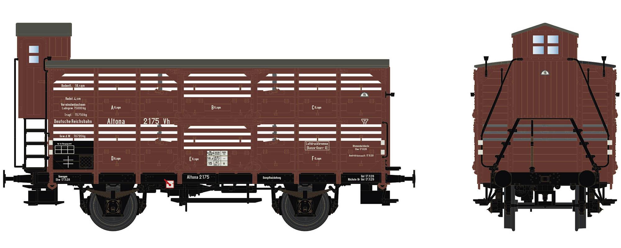 Wagenbausatz Verschlagwagen Vh14, DRG, Epoche II