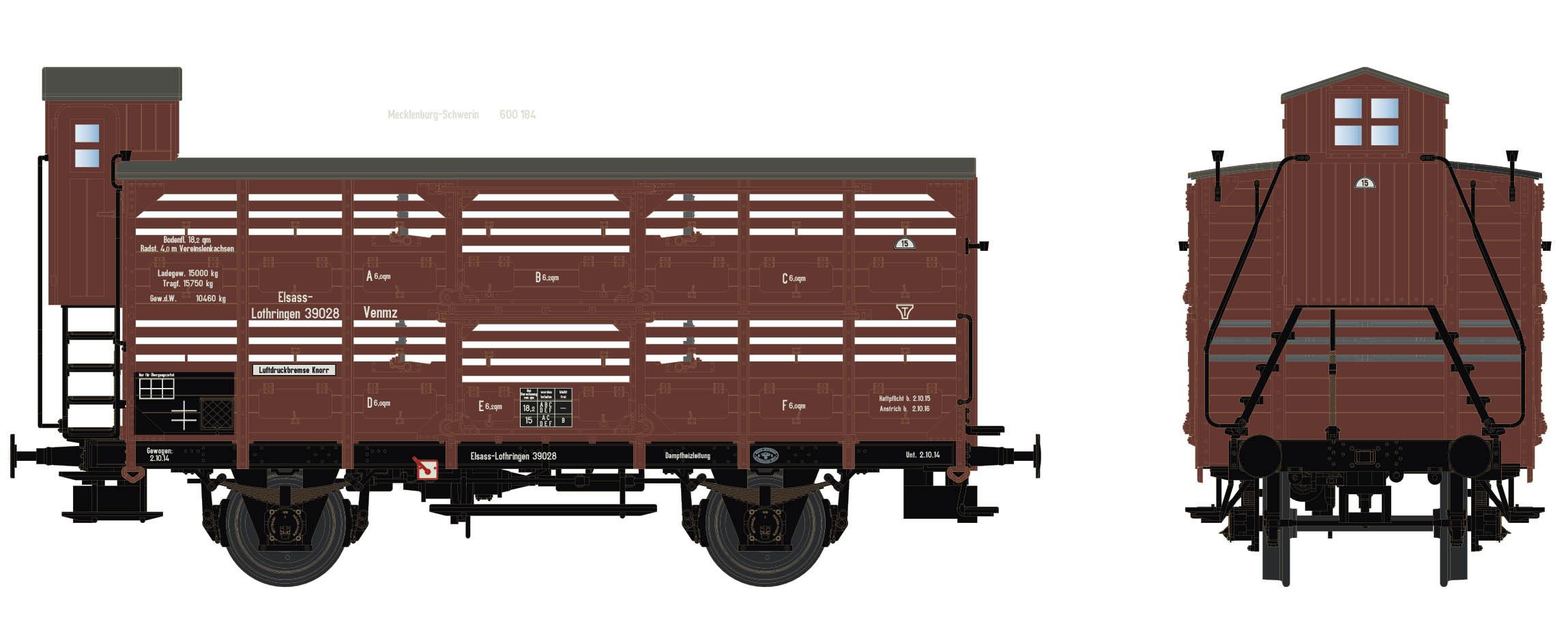 Wagenbausatz Verschlagwagen Vh14, E.L., Epoche I