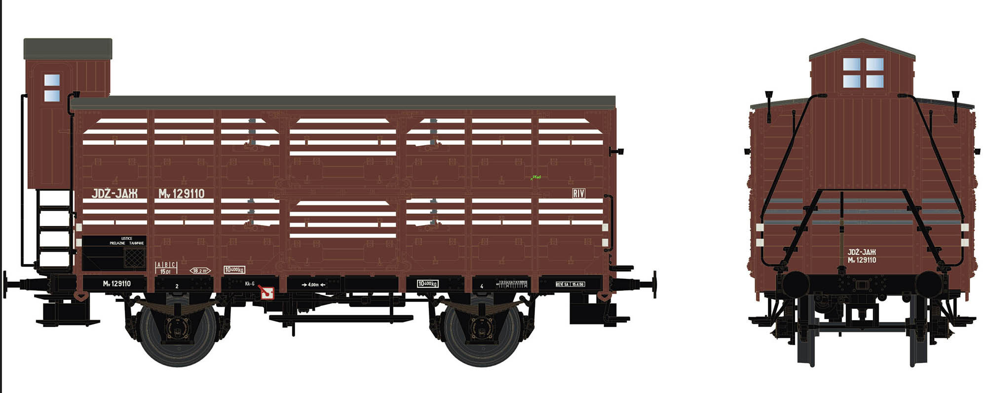 Wagenbausatz Verschlagwagen Vh14, JDŽ, Epoche III