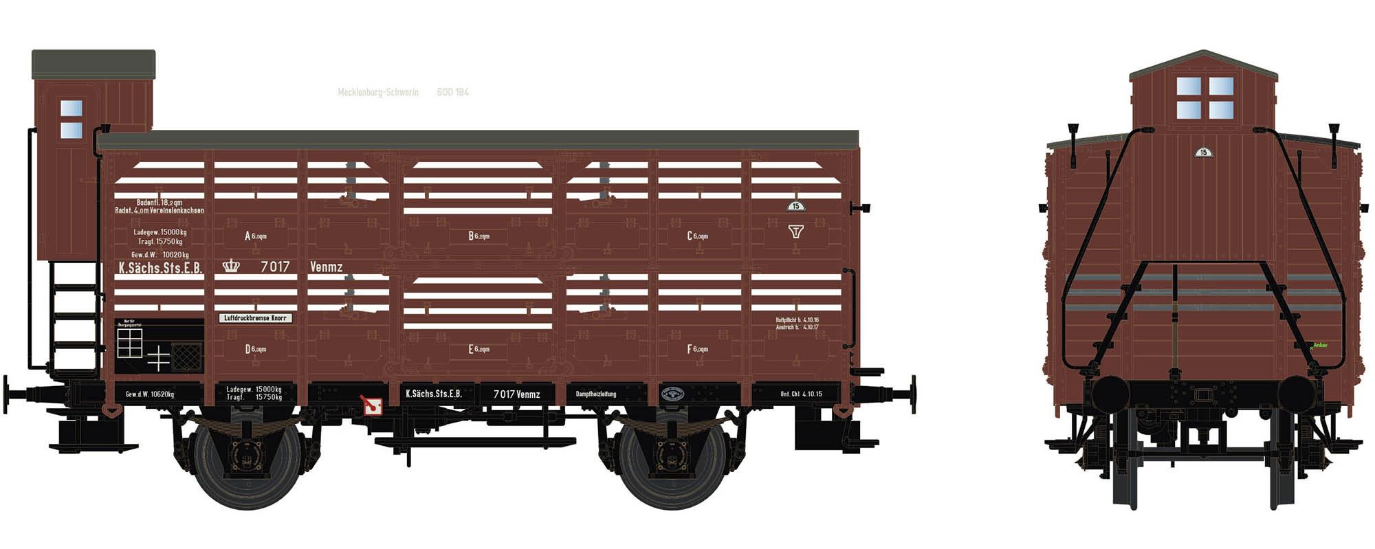 Wagenbausatz Verschlagwagen Vh14, K.Sächs.Sts.E.B., Epoche I