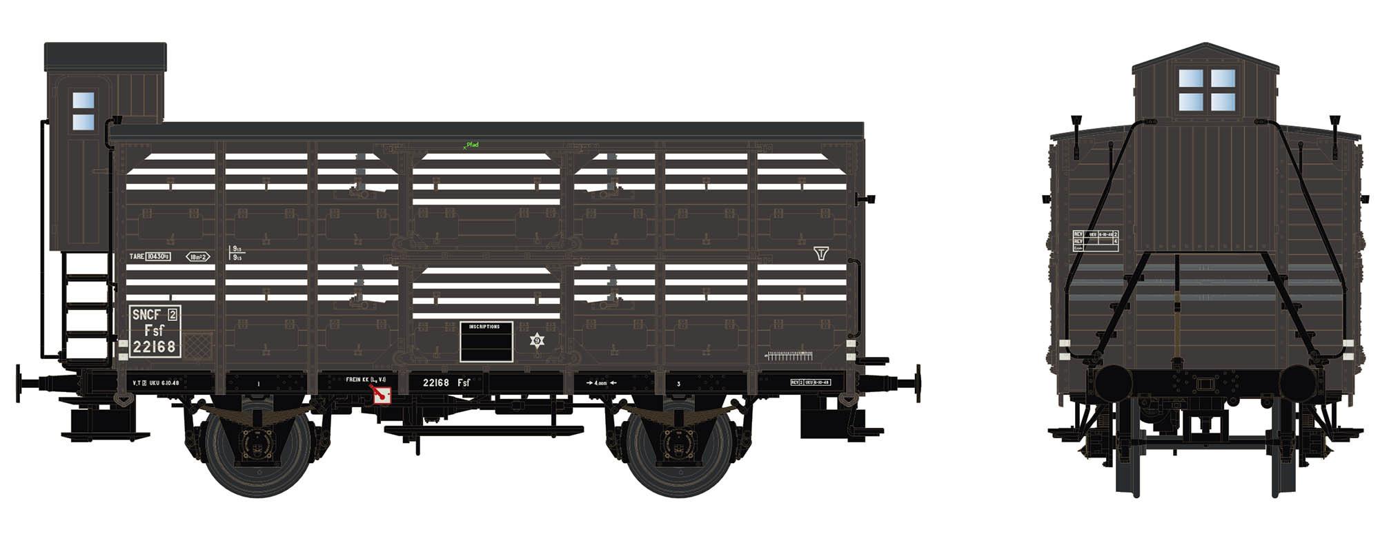 Wagenbausatz Verschlagwagen Vh14, SNCF, Epoche III